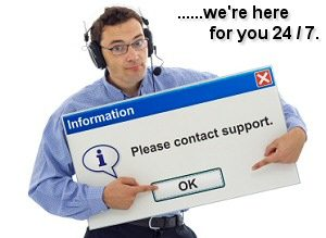 Friendly IT support staff member with computer message box guiding the customer - isolated